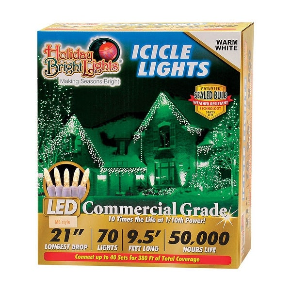 Holiday Bright Lights LEDBX-M8IC70-WW Christmas Commercial M8 LED Icicle Light, Warm White