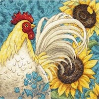 """6""""X6"""" 18 Count - Gold Petite Rooster Counted Cross Stitch Kit"""