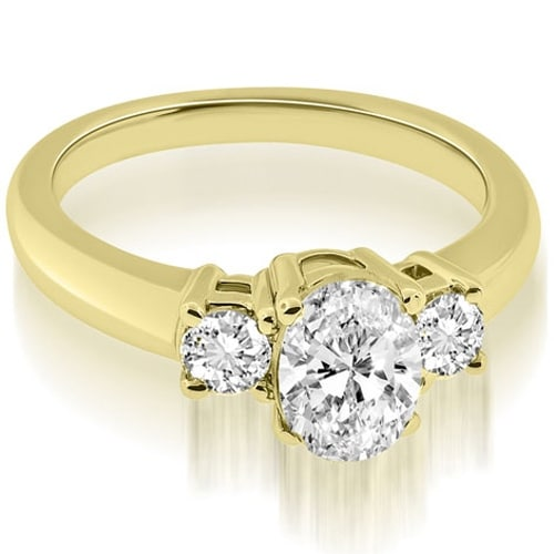 0.85 cttw. 14K Yellow Gold Classic Basket 3 Stone Oval Diamond Engagement Ring HI, SI1-2