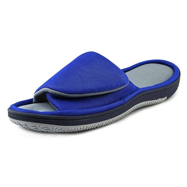 Isotoner Two Tone Slide Men Open Toe Canvas Blue Slides Sandal