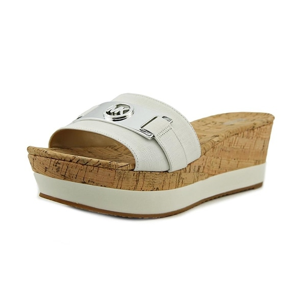 Michael Michael Kors Warren Platform Women Open Toe Leather White Slides Sandal