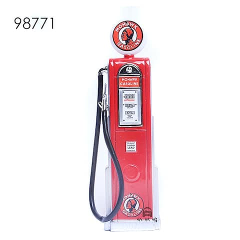 Road Signature Vintage Gas Pump Gasoline Round - Red