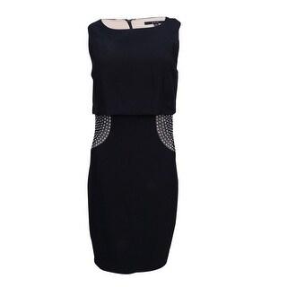 JAX Women's Popover Rhinestone Sheath Dress - Black