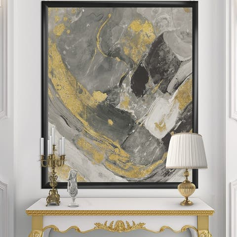 Designart 'Marble Gold and Black II' Modern & Contemporary Framed Art Print