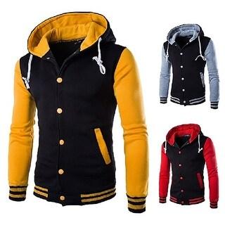 Hot Men Hooded Color Block Slim Fit Baseball Sport Jacket Casual Coat Outwear