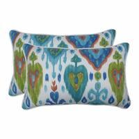 "Set of 2 Blue and Green Rectangular Throw Pillows 18.5"""