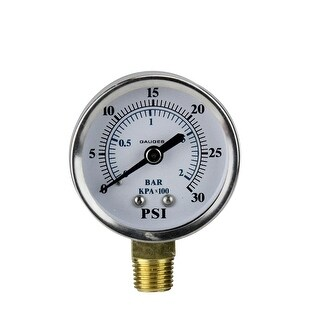 "2.75"" (50mm) Side Mount Stainless Steal Pressure Gauge 0-30 PSI - Silver"