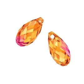 Swarovski Crystal, 6010 Briolette Pendants 11x5.5mm, 2 Pieces, Crystal Astral Pink
