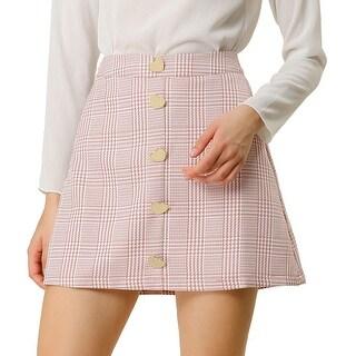 Link to Women's Houndstooth Plaids Heart Button Decor High Waist A-Line Mini Skirt - Pink Similar Items in Skirts