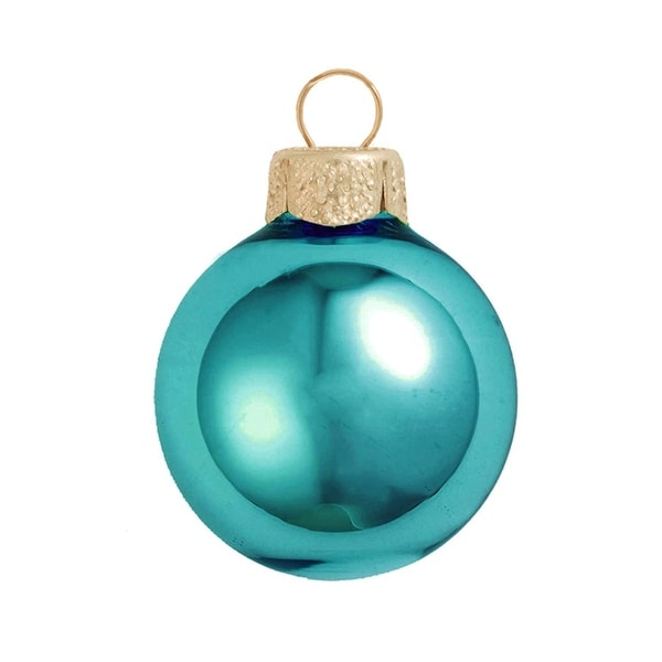 "8ct Shiny Teal Blue Glass Ball Christmas Ornaments 3.25"" (80mm)"