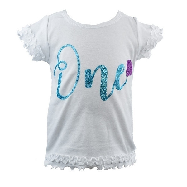 Reflectionz Baby Girls White Turquoise Cursive Number Birthday T-Shirt - 12 months