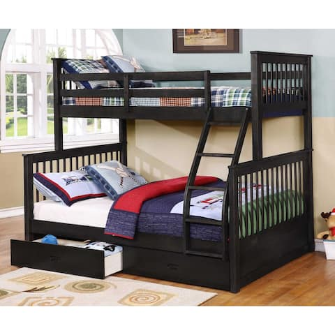 """HomeRoots 80'.5"""" X 41'.5-57'.5"""" X 70'.25"""" Manufactured Wood and Solid Wood Twin/Full Bunk Bed with 2 Drawers"""