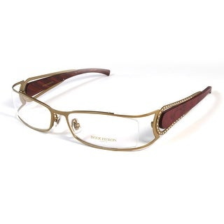 Boucheron Unisex Rectangular Rounded Eyeglasses Purple/Gold - Black - S