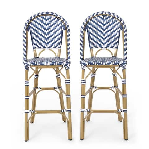 "Kinner Outdoor Aluminum French Barstools (Set of 2) by Christopher Knight Home - 18.00"" L x 23.75"" W x 46.00"" H"
