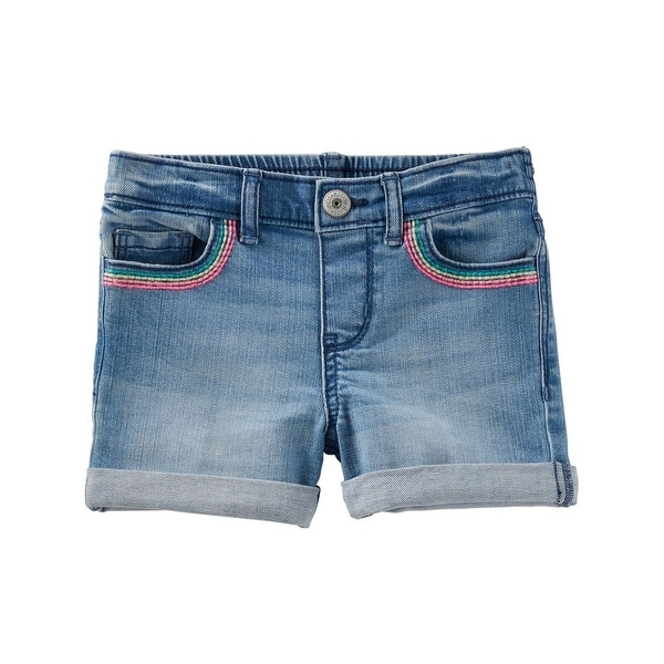 cdcb2e763 Shop OshKosh B'gosh Baby Girls' Stretch Denim Shorts - Maui Wash, 6-9 Months  - 6-9 Months - Free Shipping On Orders Over $45 - Overstock - 27286756