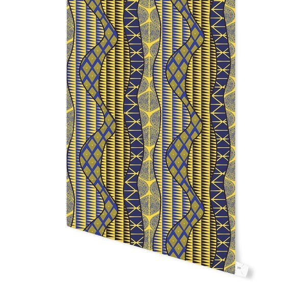 WRAP BLUE %26 YELLOW Peel and Stick Wallpaper By Kavka Designs