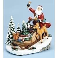 "8.5"" Musical Rotating Lighted Santa Claus in Sleigh on Hill Christmas Decoration - WHITE"