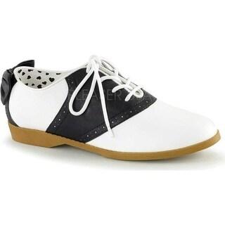 Funtasma Women's Saddle 53 Saddle Shoe Black/White Polyurethane