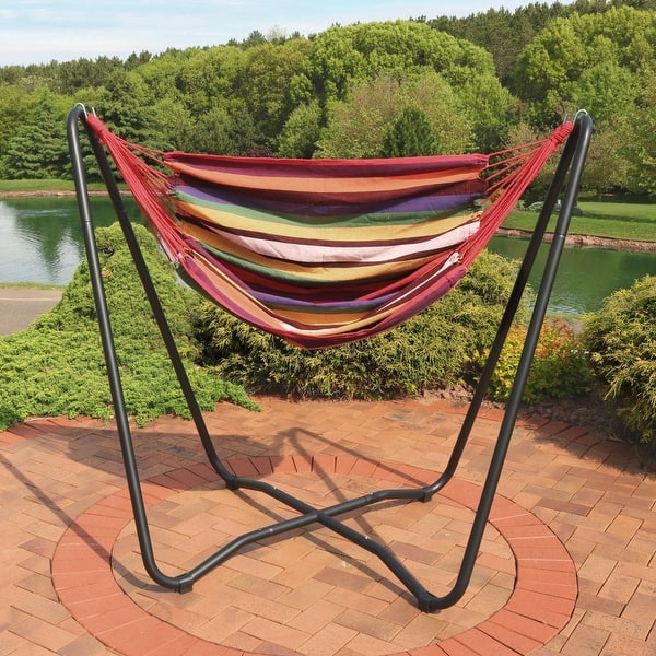 Sunnydaze Hanging Rope Hammock Chair Swing With Space Saving Stand Sunset Overstock 28730835