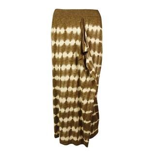 Michael Kors Women's Linen Blend Tie Dye Sarong Skirt - khaki/duffle