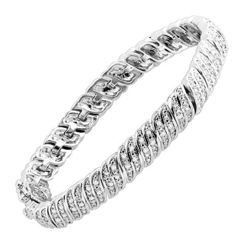 """1 ct Diamond 'S' Link Tennis Bracelet in Plated Brass (1.00 cttw, K-L Color, I3 Clarity), 7.25"""""""