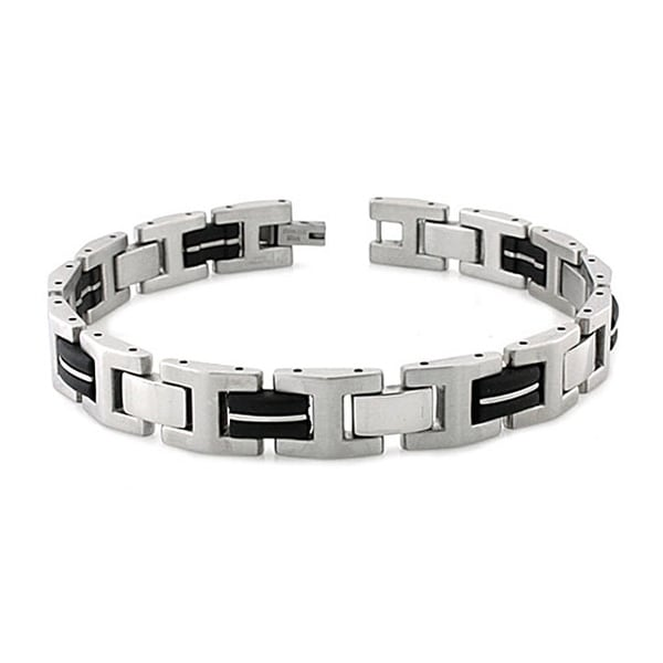 Two-Tone Stainless Steel Rubber Inlay Beveled Link Bracelet - 8.5 inches