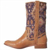 Ella Moss Womens Renee Leather Almond Toe Mid-Calf Cowboy Boots
