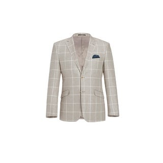 Link to Men's 2 Buttons Classic Fit Blazer Cotton Linen Plaid Sport Coat Similar Items in Sportcoats & Blazers