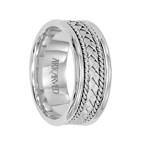 FITZGERALD 14K White Gold Ring with Woven Center and Dual Braids by ArtCarved Rings - 6.5 mm