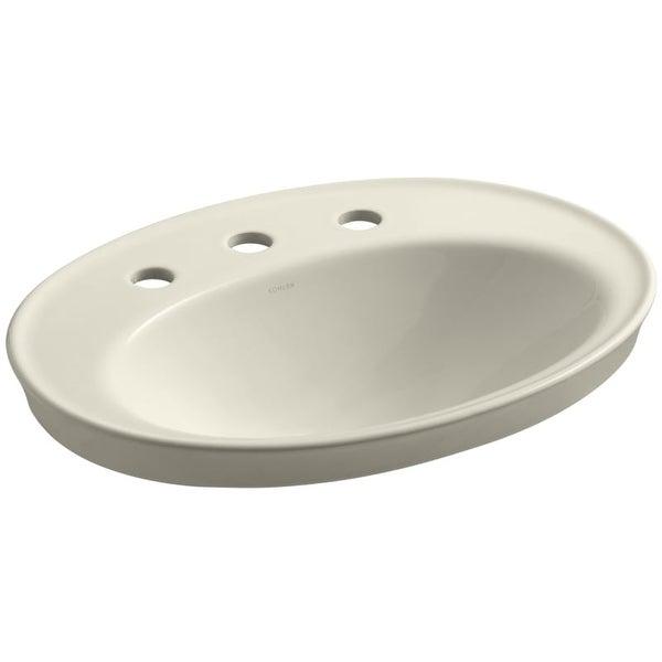 "Kohler K-2075-8 Serif 16-7/8"" Drop In Bathroom Sink with 3 Holes Drilled and Overflow"