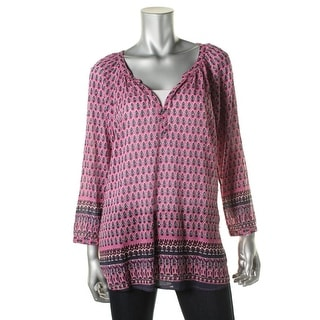 Beach Lunch Lounge Womens Anika Cotton Printed Pullover Top - S