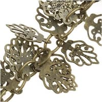 Antiqued Brass 10mm Oak Leaf Charm Cable Chain - Bulk By The Inch