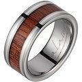 Titanium Wedding Band With Koa Wood Inlay & Silver Inlays 8mm - Thumbnail 0