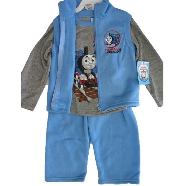 Thomas and Friends Little Boys Gray Blue Train Print Vest Shirt 3 Pc Pants Set 12-24M