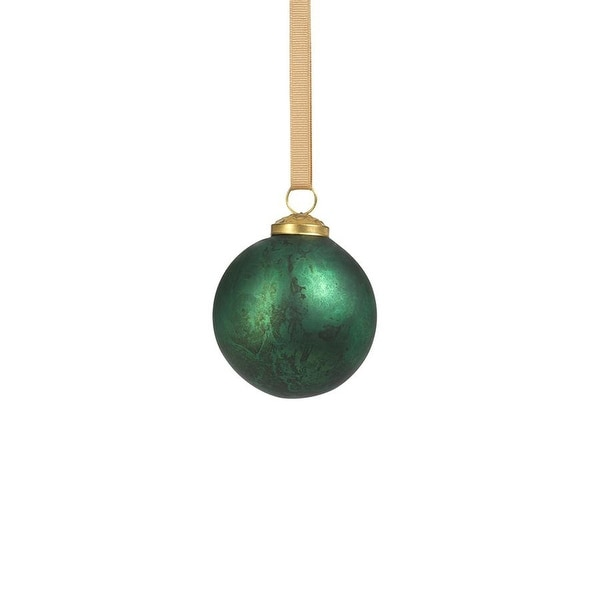 "3"" Rustic Metallic Glass Ball Ornaments-Green, Set of 6. Opens flyout."