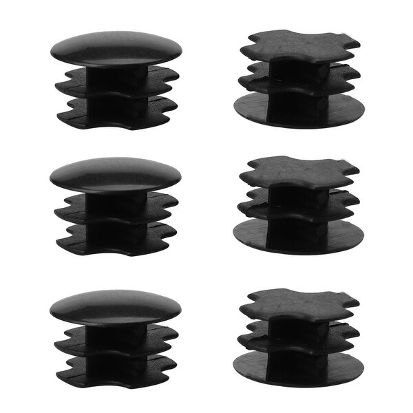 "6pcs 19mm OD Plastic Round Tube Insert Ribbed Pipe Cover Caps Black Floor Protector, 0.63""-0.71"" Inner Dia"