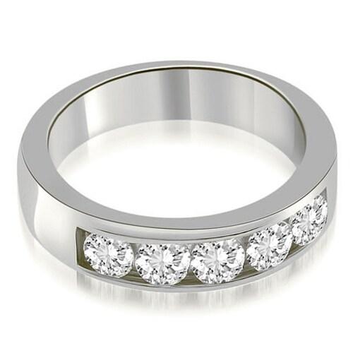 0.75 cttw. 14K White Gold Classic Channel Round Cut Diamond Wedding Band