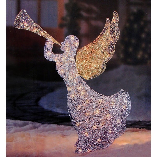 46 lighted glitter sequin 3 d angel with trumpet christmas yard art decoration