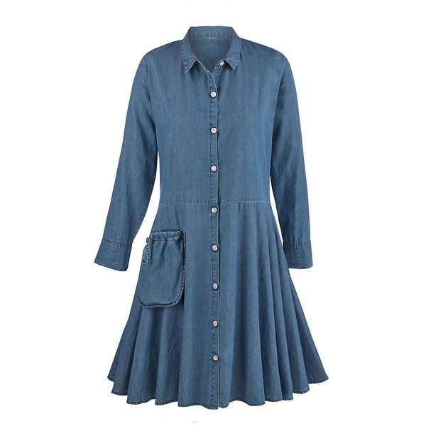 bb7be7e89d3 Shop Women's Denim Tunic Dress - Button Down Collared Tencel Denim Duster -  Free Shipping Today - Overstock - 15813048