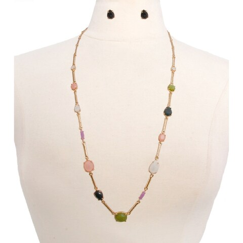 Multicolor Long Gold Necklace Set