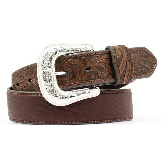 Nocona Western Belt Mens Leather Tooled Overlay Espresso