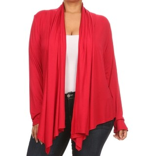 Women Plus Size Long Sleeve Cardigan Casual Cover Up Red (3 options available)