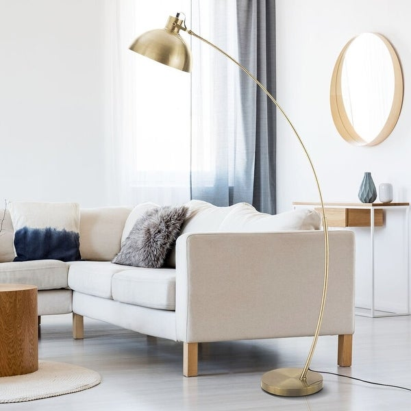 """Archiology Modern Arched Floor Lamp 63"""" With Gold Shade. Opens flyout."""