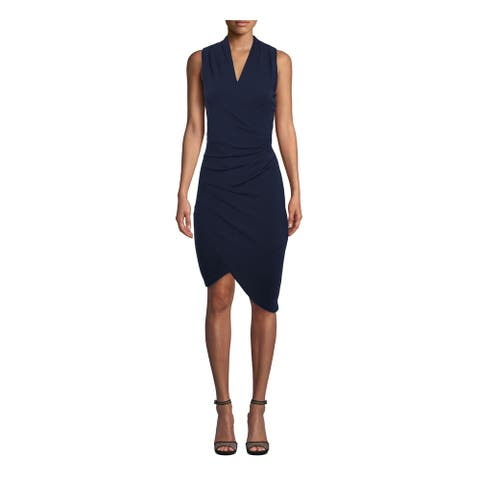 NICOLE MILLER Navy Sleeveless Knee Length Dress L