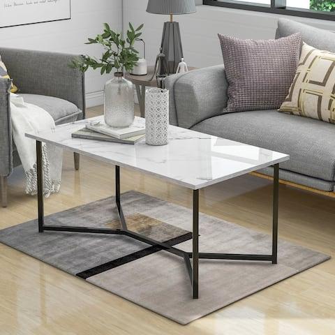 Modern Rectangle Wooden Coffee Table, Stylish X-leg base