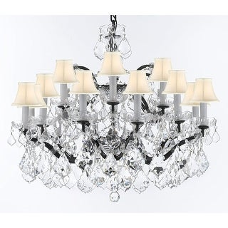 Rococo Crystal Trimmed Chandelier With White Shades