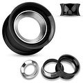 Mirror Polished Removable Steel Disc Black IP Over Steel Double Flared Screw Fit Tunnel(Sold Ind.) - Thumbnail 0