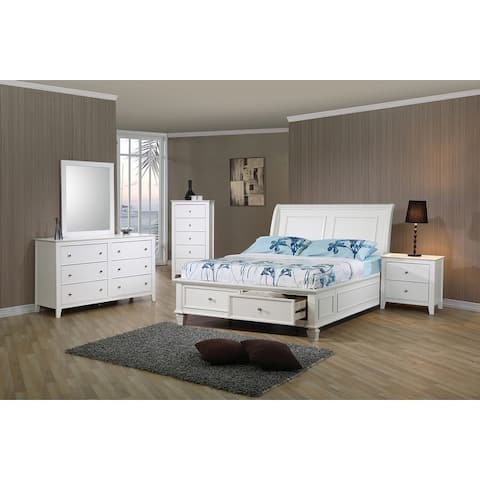 Adeline Coastal White 4-piece Storage Bedroom Set