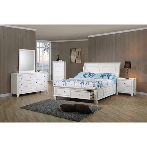 Adeline Coastal White 5-piece Storage Bedroom Set