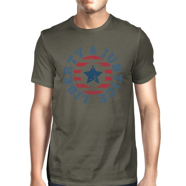 Shop Liberty Justice American Flag Shirt Men Dark Gray 4th Of July